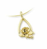 Memorial Tear Rose 14k Gold Pendant with Diamond