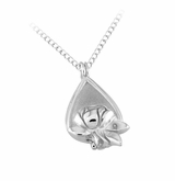 Memorial Tear With Raised Rose Sterling Silver Locket Pendant