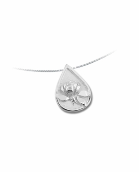Memorial Tear With Raised Rose Sterling Silver Pendant