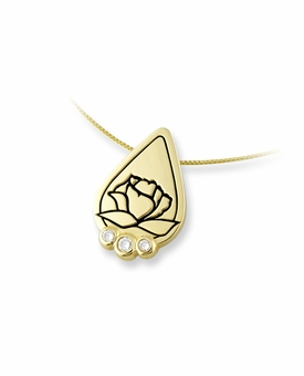 Memorial Tear With Rose 14k Gold Pendant with Three Diamonds