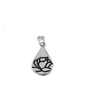 Memorial Tear With Rose Sterling Silver Charm