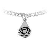 Memorial Tear With Rose Sterling Silver Charm Bracelet