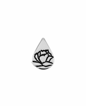 Memorial Tear With Rose Sterling Silver Lapel Pin