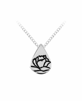 Memorial Tear With Rose Sterling Silver Pendant