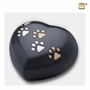 Midnight Heart Paw Print Large Pet Cremation Urn