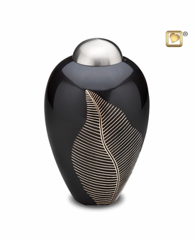 Midnight Leaf Cremation Urn