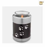 Midnight Tone Paw Prints Tealight Candle Pet Cremation Urn