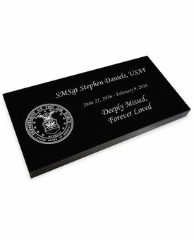 Military and Veteran Grave Marker Black Granite Laser-Engraved Memorial Headstone
