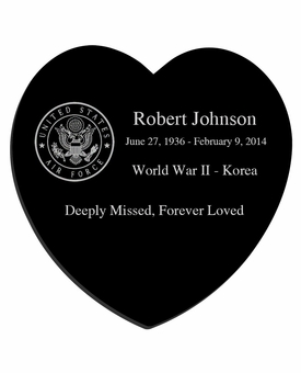 Military and Veteran Laser-Engraved Heart Plaque Black Granite Memorial