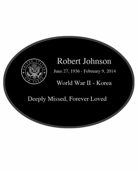 Military and Veteran Laser-Engraved Oval Plaque Black Granite Memorial