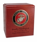 Military Cherry Wood Cremation Urn with Military Branch Choice