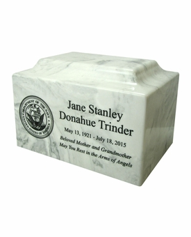 Military Classic Cultured Marble Cremation Urn Vault - Engravable - 34 Color Choices