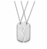 Military Dog Tag For Two Sterling Antiqued Silver Memorial Jewelry Pendant