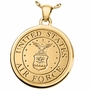 Military Fingerprint Round Solid 14k Gold Memorial Cremation Pendant Necklace