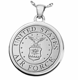 Military Fingerprint Round Stainless Steel Memorial Cremation Pendant Necklace