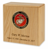 Military Oak Compact Niche Cremation Urn With Military Branch Choice
