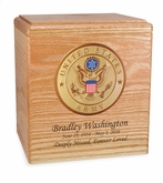 Military Oak Wood Cremation Urn with Military Branch Choice
