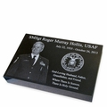 Military Photo Grave Marker Black Granite Laser-Engraved Memorial Headstone