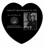 Military Photo Laser-Engraved Heart Plaque Black Granite Memorial