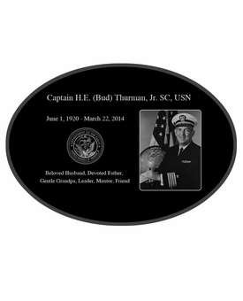 Military Photo Laser-Engraved Oval Plaque Black Granite Memorial