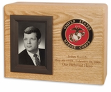 Military Photo Oak Wood Cremation Urn With Military Branch Choice