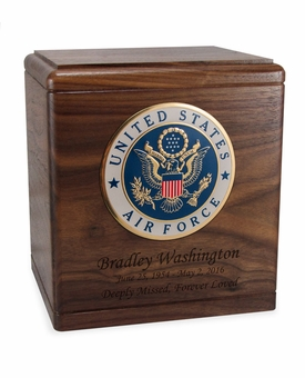 Military Walnut Wood Cremation Urn with Military Branch Choice