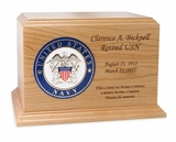 Military with Branch Choice Ambassador Solid Cherry Wood Cremation Urn