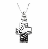 Modern Cross Sterling Silver Cremation Jewelry Necklace