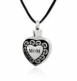 Mom Heart Stainless Steel Cremation Jewelry Pendant Necklace
