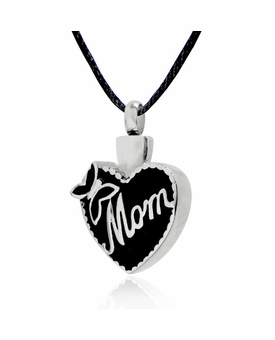 Mom with Butterfly Heart Stainless Steel Cremation Jewelry Pendant Necklace