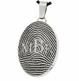 Monogram over Fingerprint Oval Stainless Steel Memorial Cremation Pendant Necklace