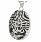Monogram over Fingerprint Oval Sterling Silver Memorial Cremation Pendant Necklace
