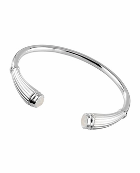 Moonstone Birthstone Reed Cuff Polished Sterling Silver Cremation Jewelry Bracelet