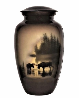 Moose In The Meadow Picture Cremation Urn
