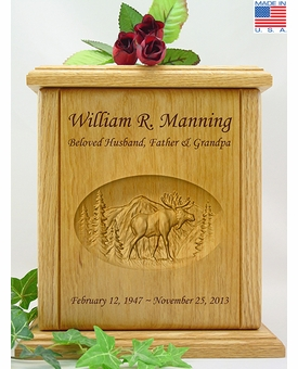 Moose & Mountains Relief Carved Engraved Wood Cremation Urn - 2
