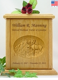 Moose & Mountains Relief Carved Engraved Wood Cremation Urn
