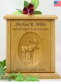Moose Relief Carved Engraved Wood Cremation Urn