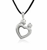 Mother and Child Heart Stainless Steel Cremation Jewelry Pendant Necklace