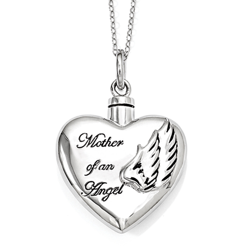 Mother Of An Angel Sterling Silver Cremation Jewelry Necklace