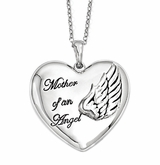 Mother of an Angel Sterling Silver Memorial Jewelry Necklace