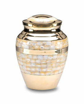 Mother of Pearl Adult Brass Cremation Urn
