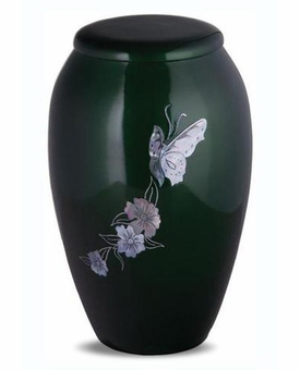 Mother Of Pearl Green Butterfly Cremation Urn