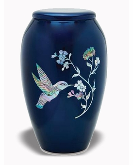 Mother Of Pearl Hummingbird On Blue Cremation Urn