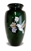 Mother Of Pearl Hummingbird On Green Cremation Urn