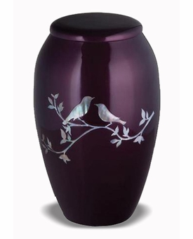 Mother Of Pearl Mourning Doves Cremation Urn
