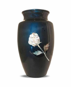Mother Of Pearl Rose On Blue Cremation Urn
