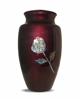 Mother Of Pearl Rose On Burgundy Cremation Urn