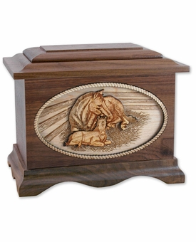 Mothers Love Horse with 3D Inlay Walnut Wood Cremation Urn