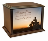 Motorcycle at Sunset Eternal Reflections Wood Cremation Urn - 4 Sizes