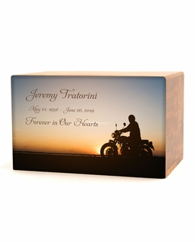 Motorcycle at Sunset Eternal Reflections Wood Cremation Urn - 5 Urn Choices